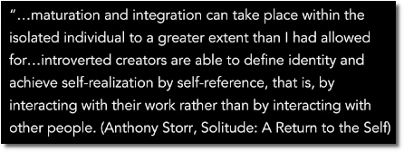 Solo growth is possible by a self-referencing individual who interacts with his work to impose form and order (at t=5:30)