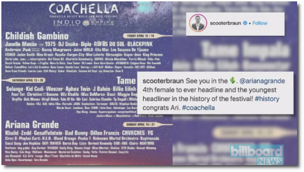 Ariana youngest ever (25) to headline Coachella (2019)