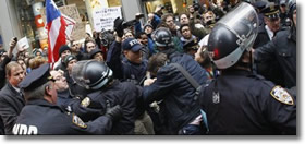 Occupy Wall Street vs NYPD at New York Stock Exchange