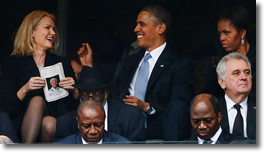 Obama Selfie-gate at Mandela's Funeral on Dec 10, 2013 with Denmark's Helle Thorning-Schmidt while Michelle is clearly not happy