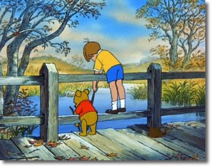 Pooh and Christopher Robin Playing Poohsticks