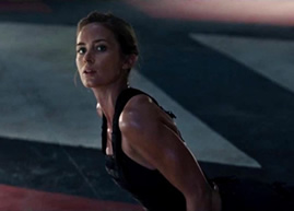 Emily Blunt doing yoga amid the whirling blades of death in Edge of Tomorrow