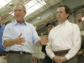 George W Bush with (inexperienced) FEMA director Michael 'Brownie' Brown during Hurricane Katrina in New Orleans, August 2005