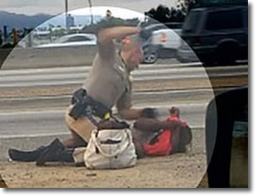 50-year-old homeless grandma Marlene Pinnock repeatedly punch in the face by CHP July 1, 2014 off the 10 Freeway in Los Angeles