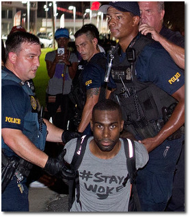 DeRay McKesson getting arrested while protesting the shooting death of Alton Sterling in Baton Rouge on July 9, 2016