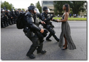 Ieshia Evans Getting Arrested During a Peaceful Protest in Baton Rouge on July 9, 2016