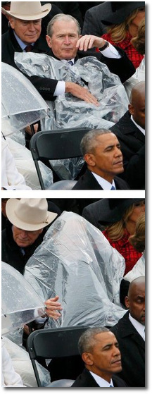 George Bush wearing a garbage bag on his head at Trump's inauguration Jan 20, 2017