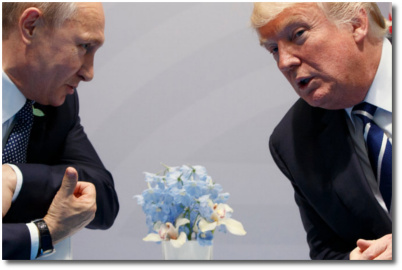 Putin and Trump with blue-n-white flowers