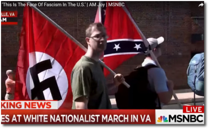 Nazi flag and Confederate flag marching together side-by-side in Charlottesville, VA. August, 2017