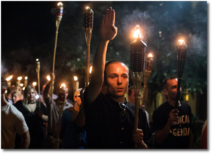 Nighttime rally by white supremacists at Charlottesville VA August 11, 2017