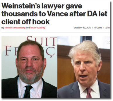 Weinstein's lawyers gave thousands to NY District Attorney Cyrus Vance after he let their client off