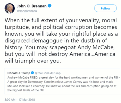 Fmr director of the CIA John Brenna addresses President Donald Trump directly about political corruption