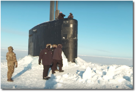 US nuclear sub surfaces amid arctic ice