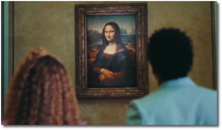 Beyonce and Jay-Z taking in Leonardo's Mona Lisa at the Louvre in Apeshit (16 June 2018)