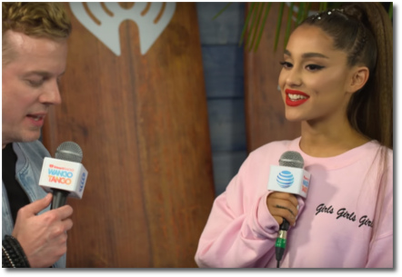 Ariana wearing nice pink girly sweatshirt at Wango Tango (2 June 2018)