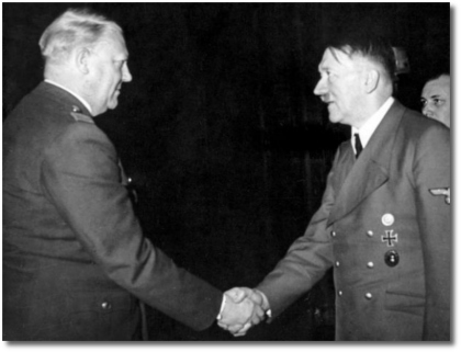 Vidkun Quisling shaking hands with Adolf Hitler