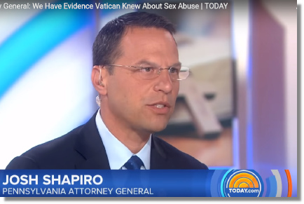 Pennsylvania attorney general Josh Shapiro has evidence Vatican knew about priest sexual abuse (28 August 2018)